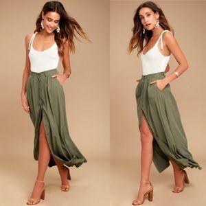 REVOLVE • Pistola My Squad Olive Green Maxi Skirt